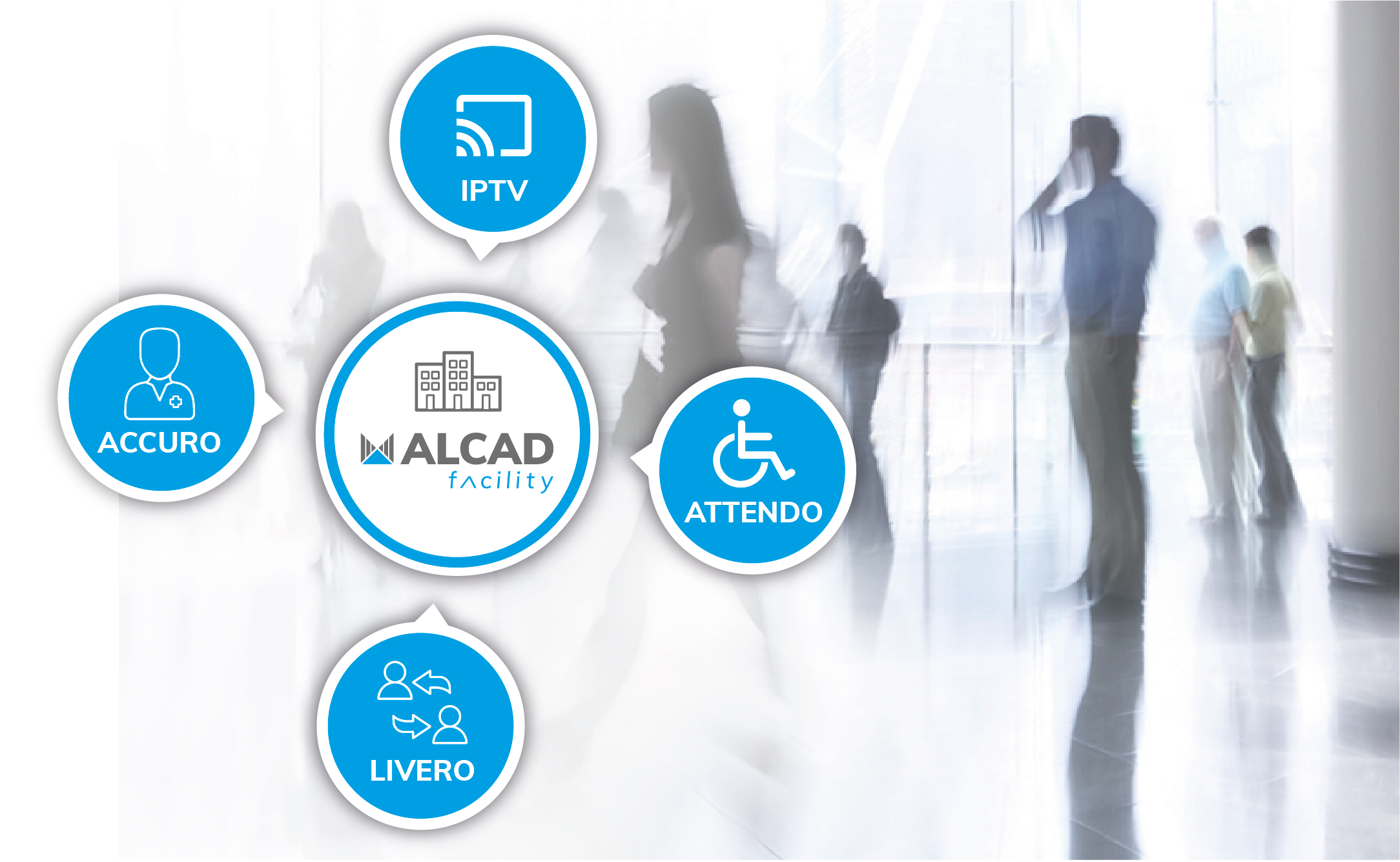 ALCAD Facility: telecommunications, security and multimedia solutions for hospitals, nursing homes, hotels, malls, public buildings, etc.